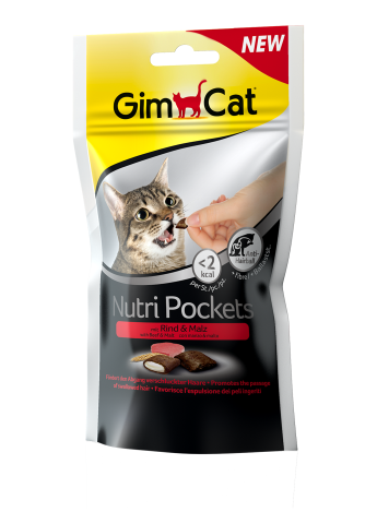 Консерва Nutri Pockets д/кошек Говядина + Солод (Мальт), 60 г. Gimborn