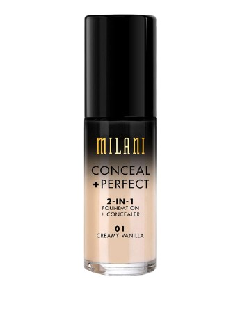 Тональный крем-корректор Conceal Perfect 2-In-1 Foundation + Concealer №01 Creamy Vanilla, 30 мл Milani