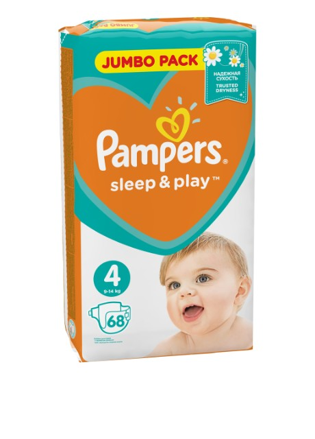 Подгузники Sleep & Play Maxi (7-14 кг), 68 шт. Pampers - Фото