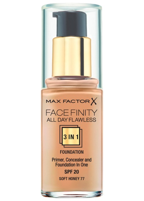 Тональный крем Facefinity All Day Flawless 3-in-1 Foundation SPF 20 №77 Soft Honey Max Factor прозрачный - Фото